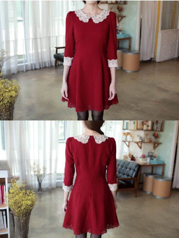 Lace collar slim Korean style short sleeve dress