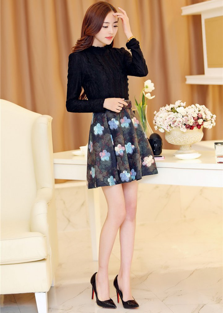 Printing with belt lace splice woolen dress