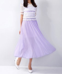 Short sleeve pleated dress spring and summer lace long skirt
