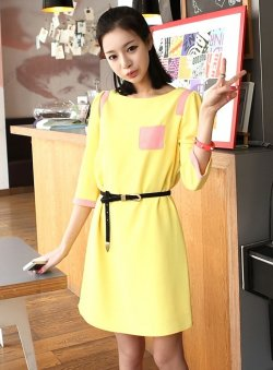 Sweet fresh Casual autumn and winter mixed colors dress