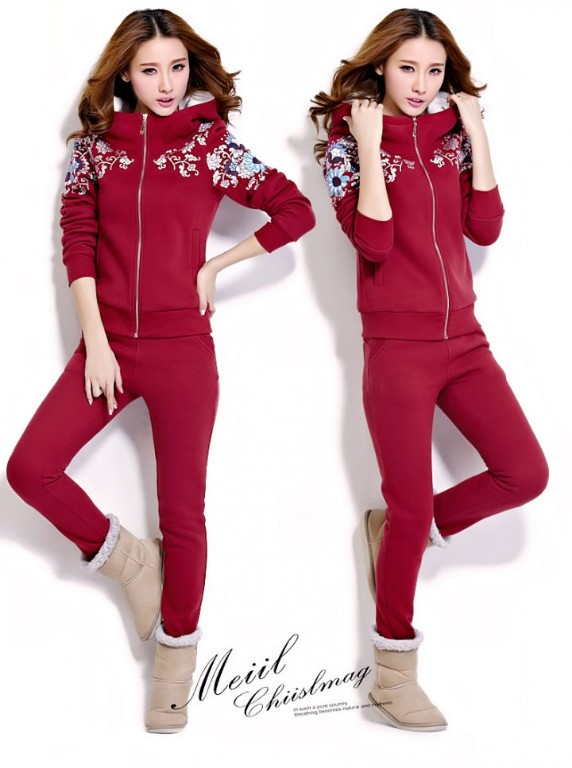 Sports Casual sets winter large yard hoodie for women